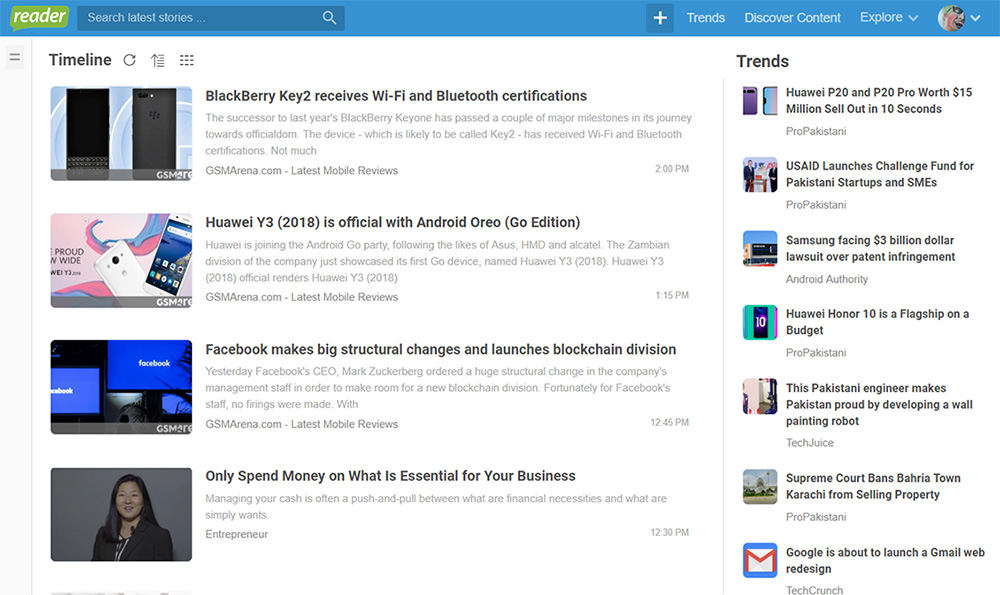 Your personlized Timeline to have a quick glance on latest articles